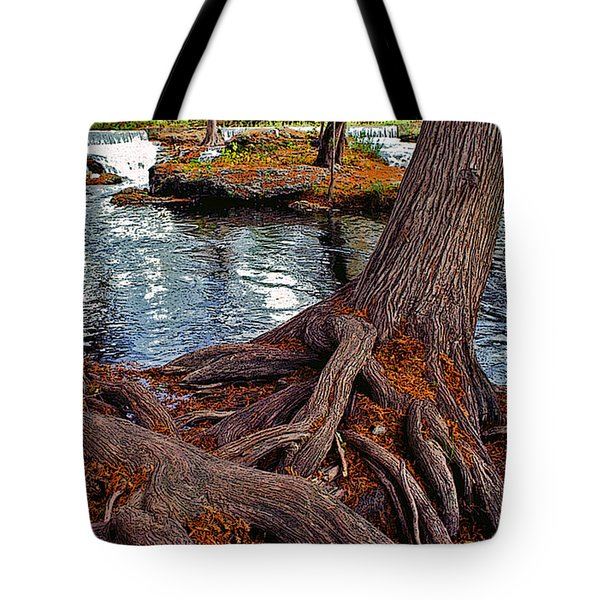 Roots On The River Tote Bag by Stephen Anderson