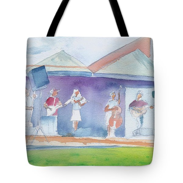 Roots Retreat Bluegrass Tote Bag by David Sockrider