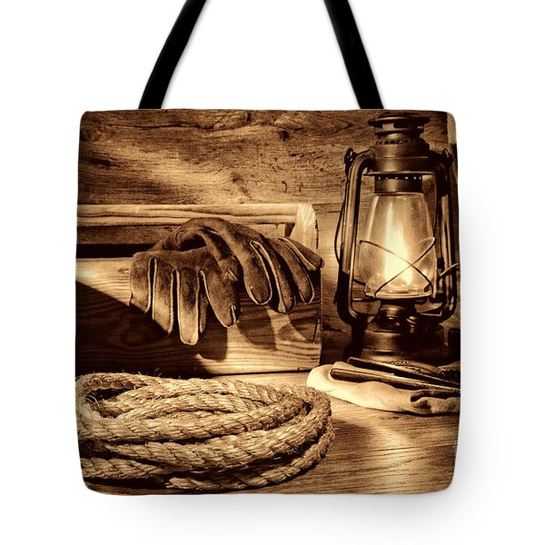 Rope And Tools In A Barn Tote Bag
