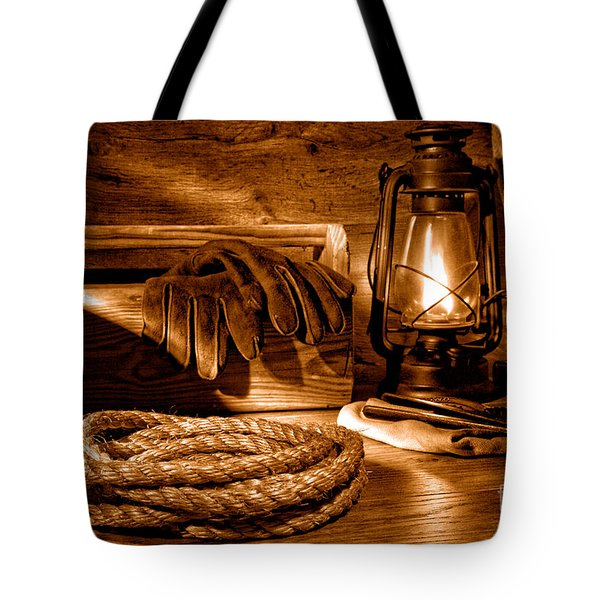 Rope And Tools In A Barn - Sepia Tote Bag