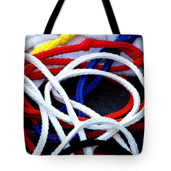 Colored Ski Ropes Tote Bag