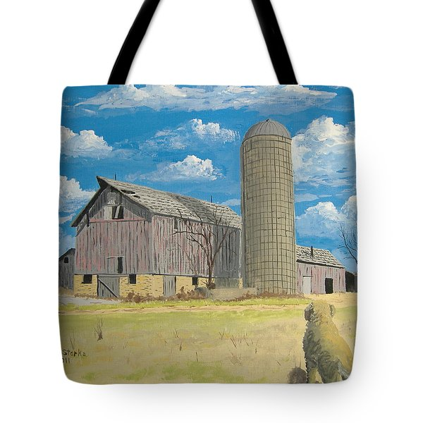 Tote Bag featuring the painting Rorabeck Barn by Norm Starks