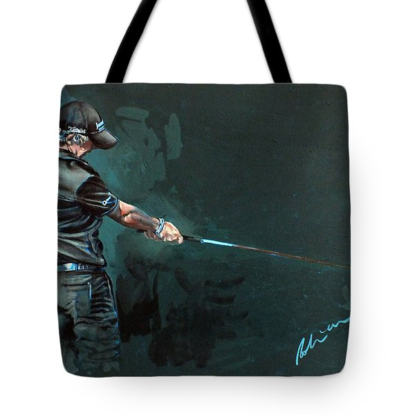 Rory Mcilroy Trick Shot 2010 Tote Bag by Mark Robinson