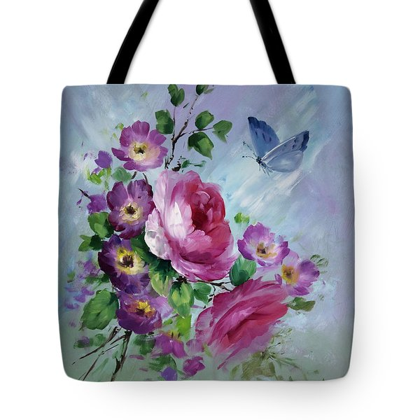 Rose And Butterfly Tote Bag by David Jansen