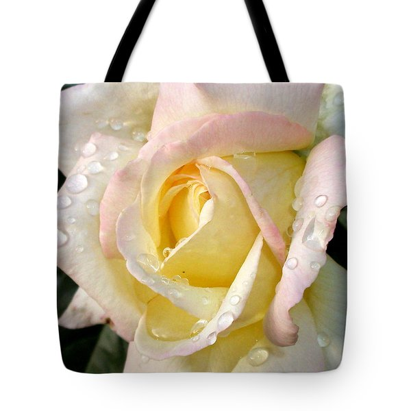 Rose And Raindrops Tote Bag by Cynthia Lassiter