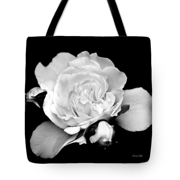 Tote Bag featuring the photograph Rose Black And White by Christina Rollo