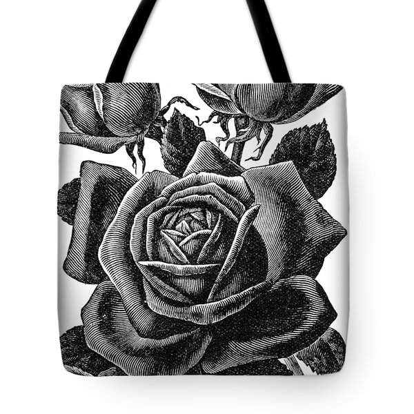 Tote Bag featuring the digital art Rose Black by ReInVintaged