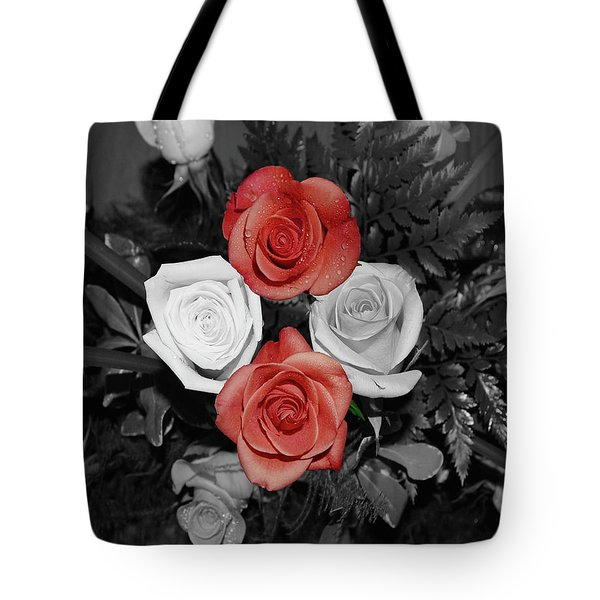 Rose Bouquet Tote Bag by DigiArt Diaries by Vicky B Fuller