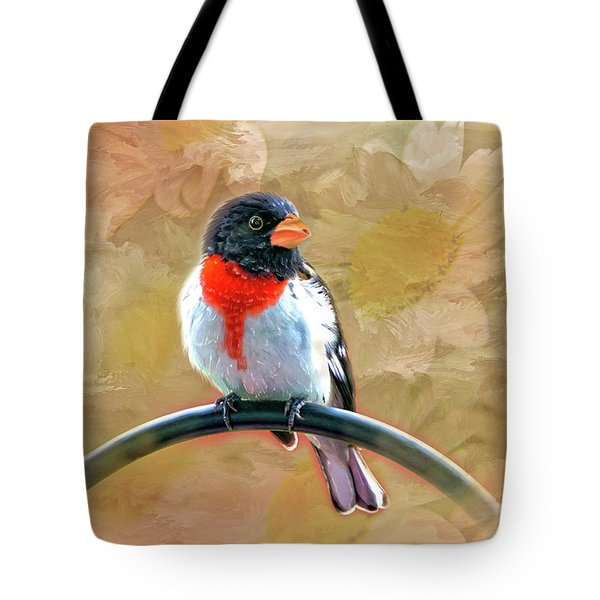 Rose-breasted-grosbeak Tote Bag by Mary Timman