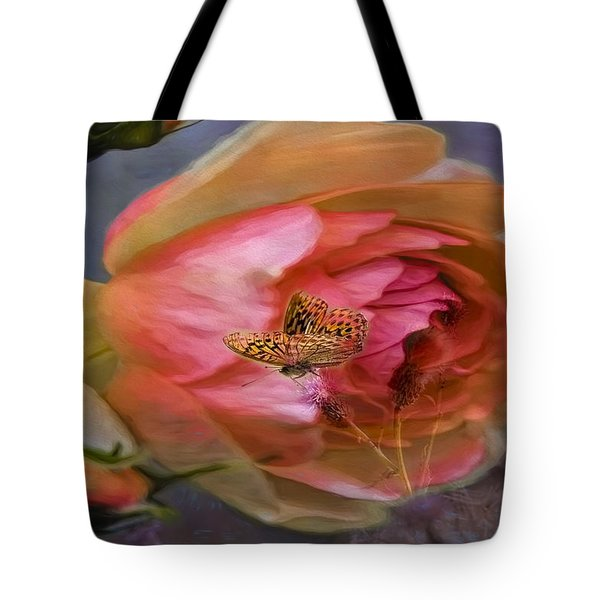 Rose Buttefly Tote Bag