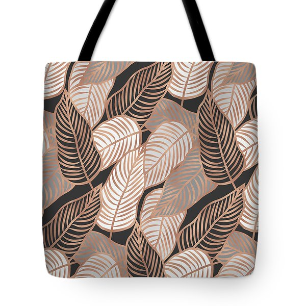 Rose Gold Jungle Leaves Tote Bag