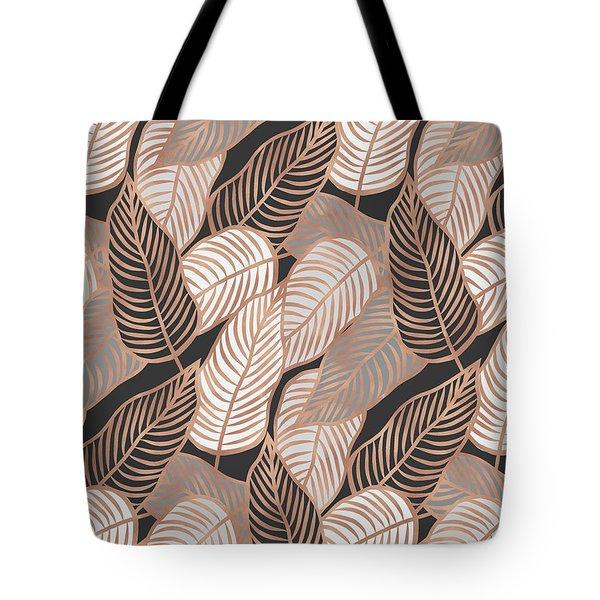 Rose Gold Jungle Leaves Tote Bag