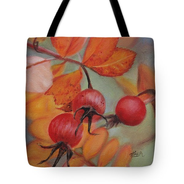 Tote Bag featuring the painting Rose Hips by Tammy Taylor