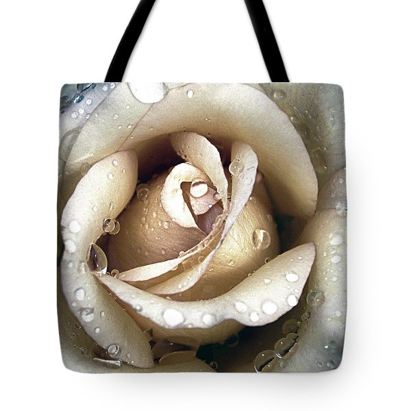 Rose In Gold With Water Drops Tote Bag