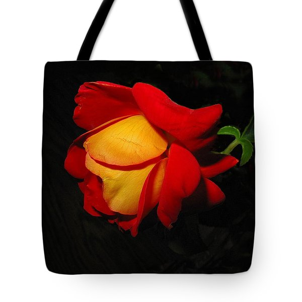 Tote Bag featuring the photograph Rose Of Fire by Joyce Dickens