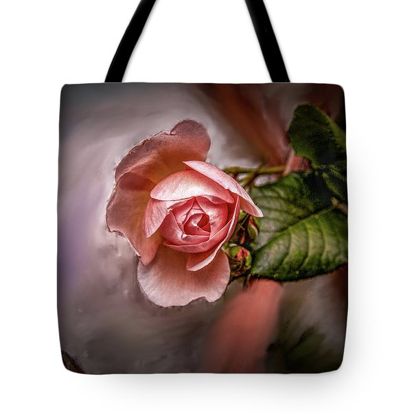 Tote Bag featuring the mixed media Rose On Paint #g5 by Leif Sohlman
