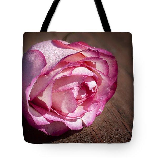 Rose On Wood Tote Bag