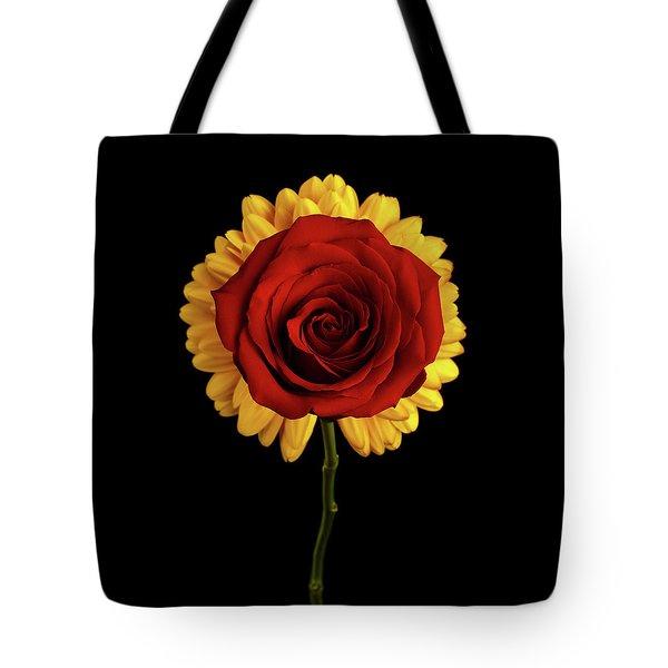 Rose On Yellow Flower Black Background Tote Bag by Sergey Taran