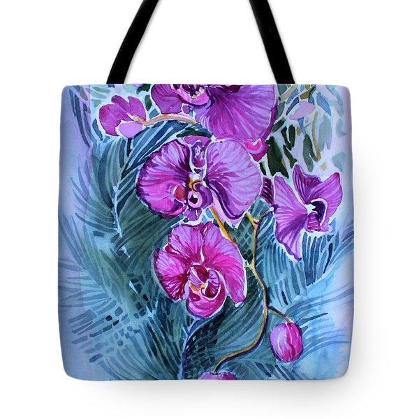 Tote Bag featuring the painting Rose Orchids by Mindy Newman