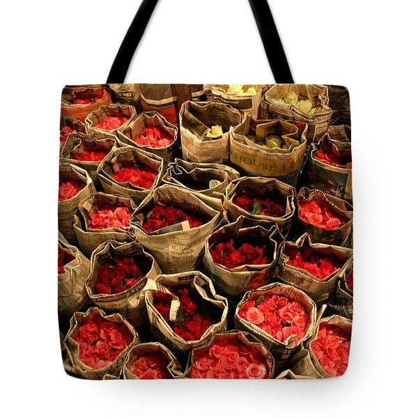 Rose Rolled In Newspaper Tote Bag by Minaz Jantz