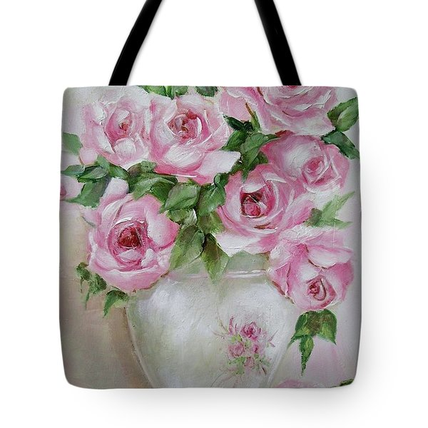 Tote Bag featuring the painting Rose Vase by Chris Hobel