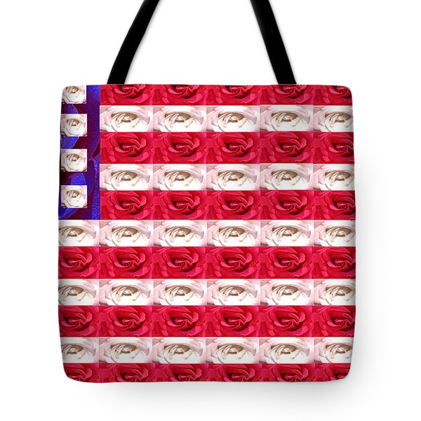 Rose White And Blue Tote Bag by Anne Cameron Cutri