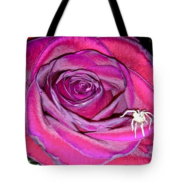 Rose With Spider Tote Bag by Yelena Tylkina