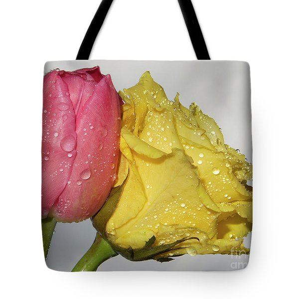 Tote Bag featuring the photograph Rose With Tulip by Elvira Ladocki
