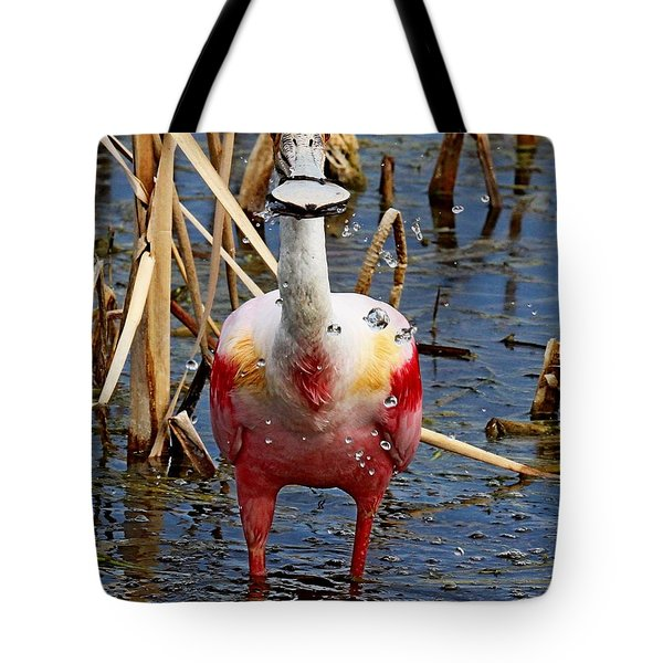 Roseate Spoonbill And Water Drops Tote Bag