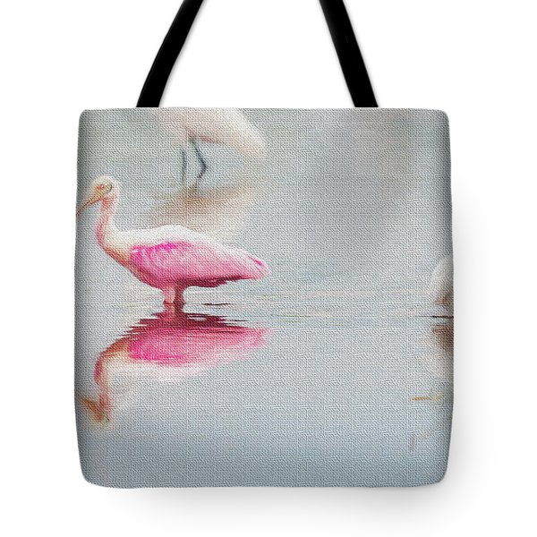 Roseate Spoonbill Eating In A Lagoon Tote Bag