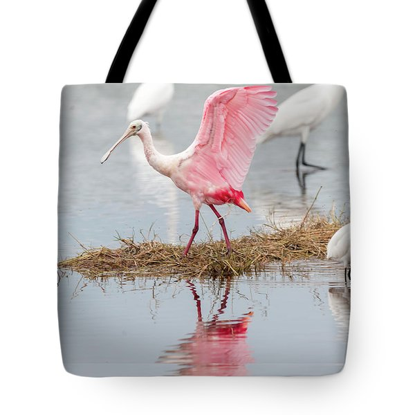 Roseate Spoonbill Flapping Wing While Looking For Food Tote Bag