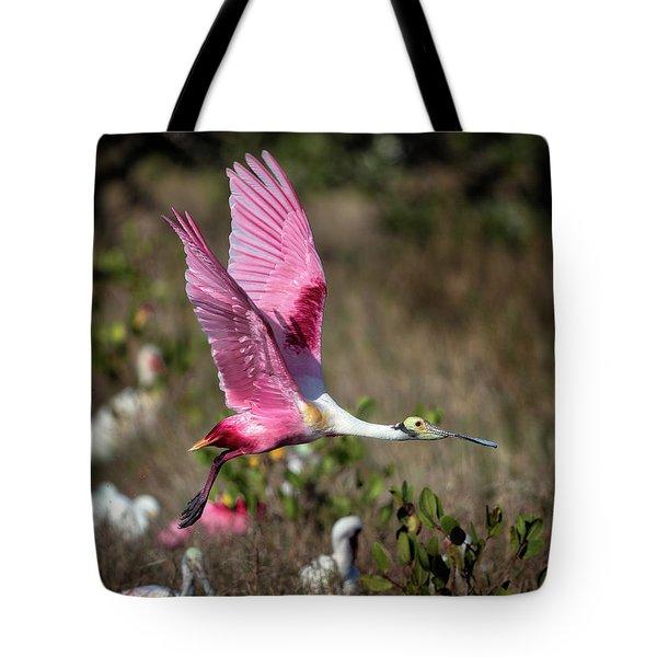 Roseate Spoonbill Flying Tote Bag