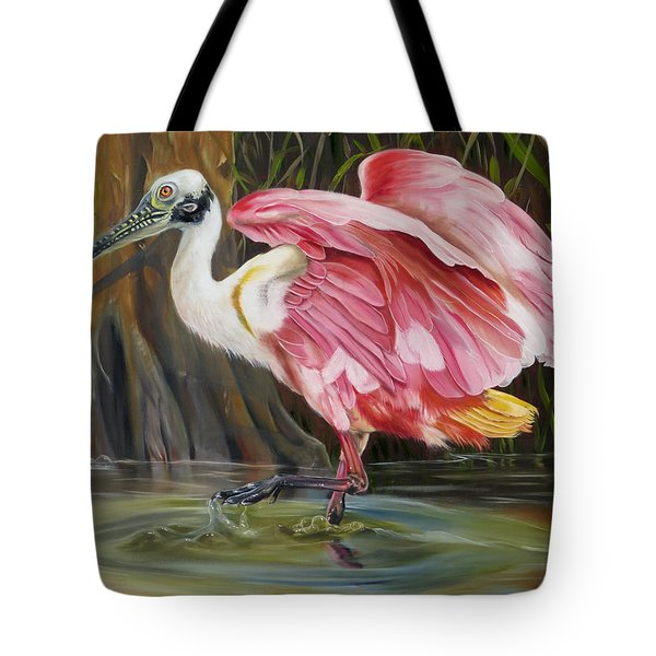 Roseate Spoonbill In A Cypress Swamp Tote Bag