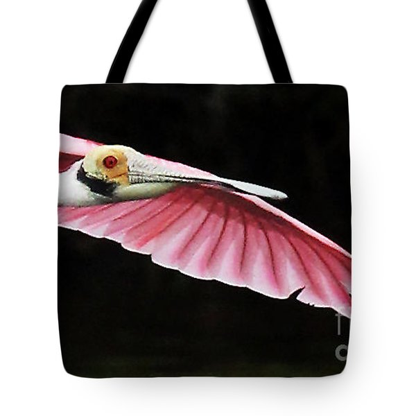 Roseate Spoonbill In Flight Tote Bag