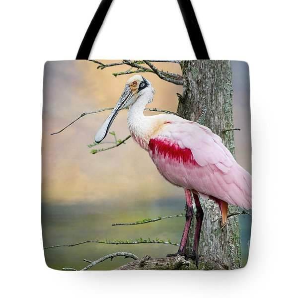Roseate Spoonbill In Treetop Tote Bag by Bonnie Barry