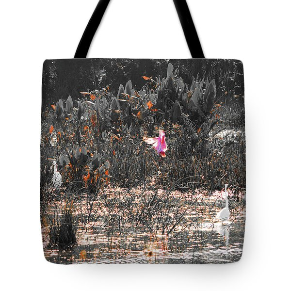 Roseate Spoonbill Select Color Tote Bag by Ken Figurski