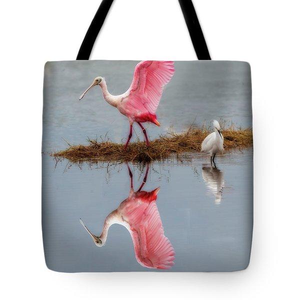 Roseate Spoonbill Stretching Wings Tote Bag