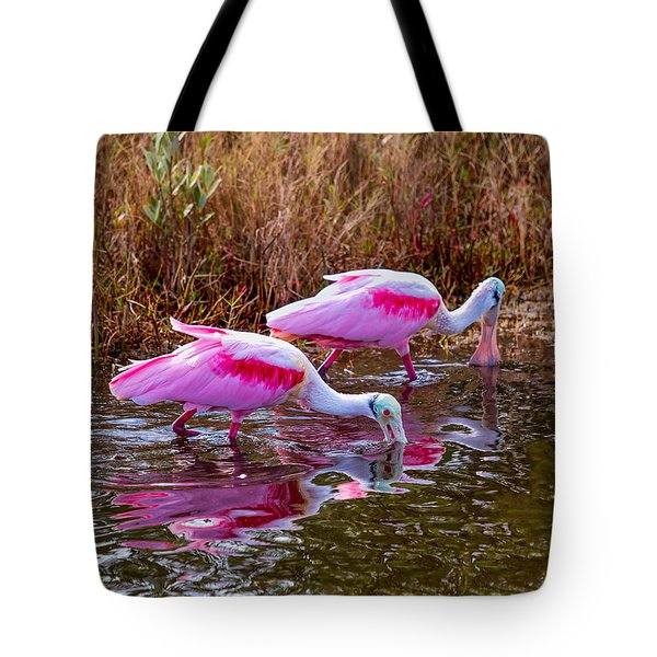 Roseate Spoonbills Swishing For Food Tote Bag