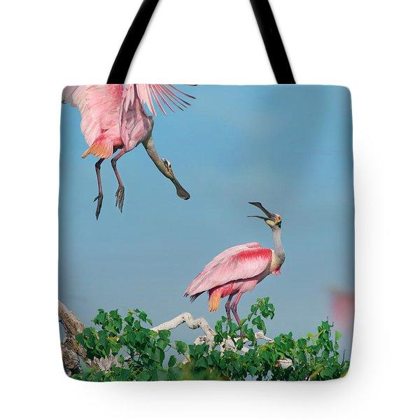 Roseate Spoonbills Tote Bag by Tim Fitzharris