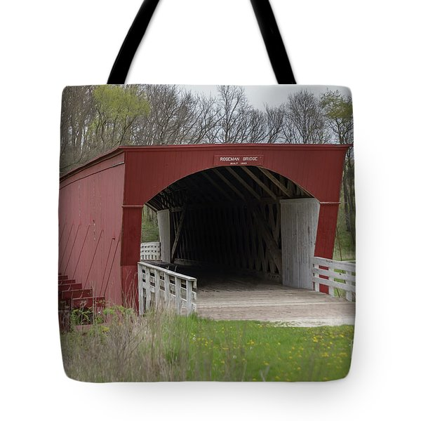 Tote Bag featuring the photograph Roseman Covered Bridge - Madison County - Iowa by Teresa Wilson