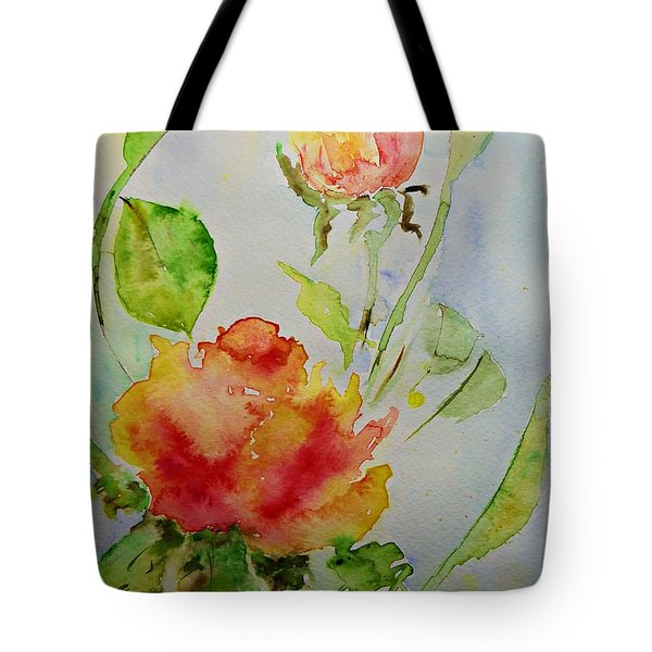 Tote Bag featuring the painting Roses  by AmaS Art