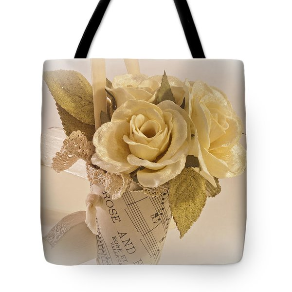 Roses And Butterfly Posy  Tote Bag by Sandra Foster