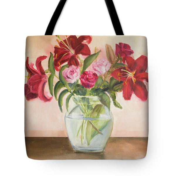Roses And Lilies Tote Bag
