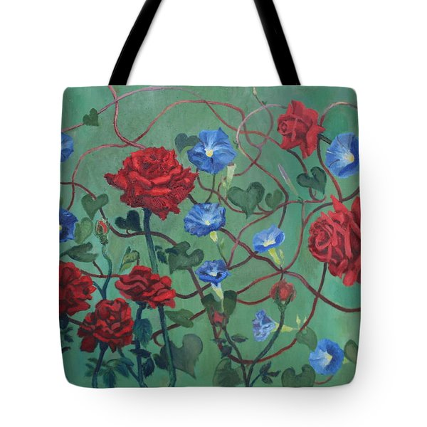 Roses And Morning Glories Tote Bag