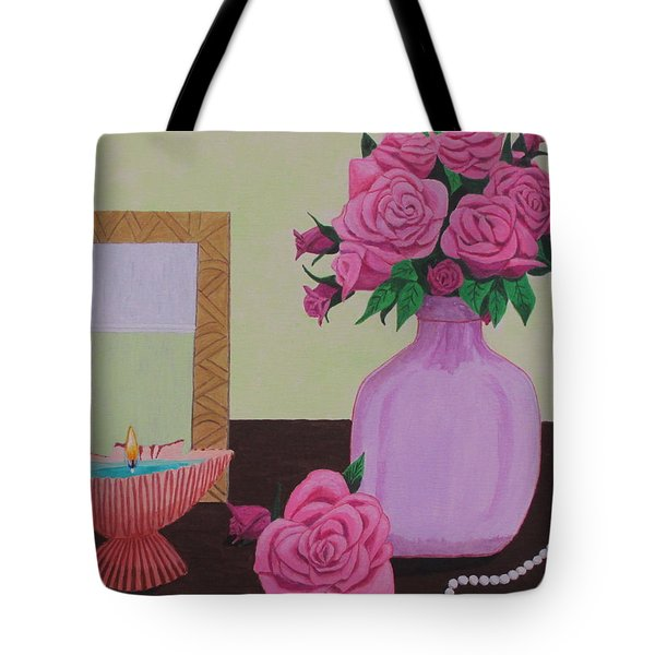 Tote Bag featuring the painting Roses And Pearls by Hilda and Jose Garrancho