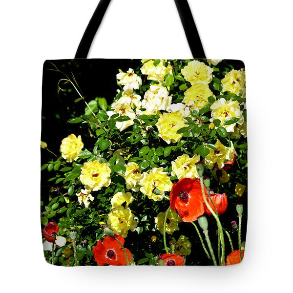 Roses And Poppies Tote Bag by Teresa Mucha