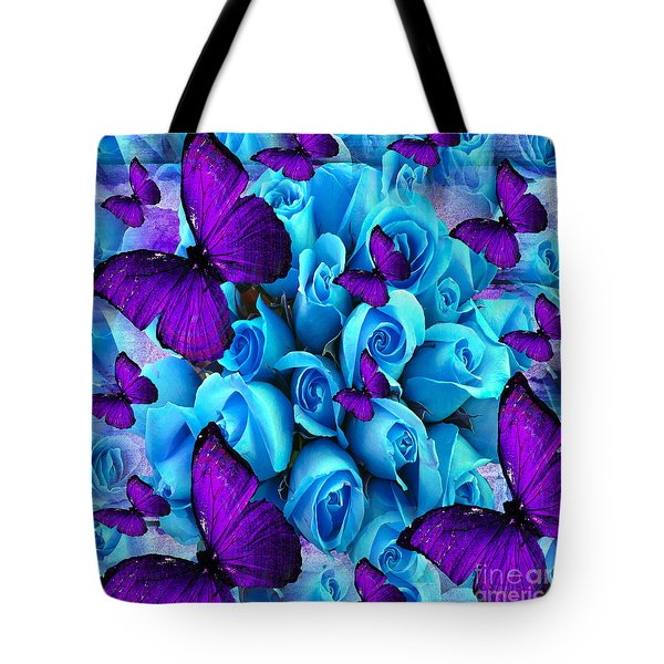 Roses And Purple Butterflies Tote Bag by Saundra Myles