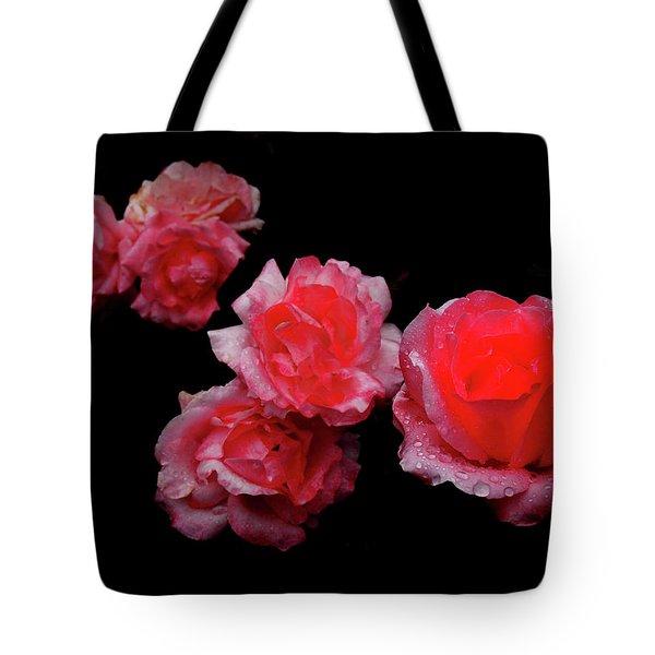 Roses And Rain Tote Bag