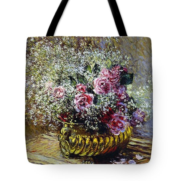 Roses In A Copper Vase Tote Bag by Claude Monet