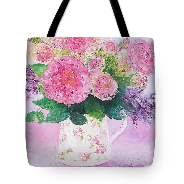 Roses In A Pink Floral Jug Tote Bag by Jan Matson